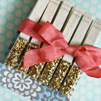 Gold Glitter Sparkle Clothespins