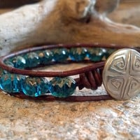 SALE 20% Off, Captivated by the Sea, Leather Wrap Bracelet, Stocking Stuffer, Boho, Chic