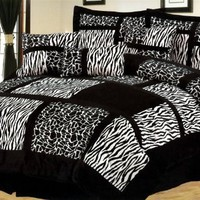 Queen 7 Pcs Micro Fur Zebra/Giraffe Patchwork Bedding Comforter Set Black/White