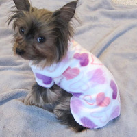 Soft Anti Pill Fleece Heart Dog Puppy Snuggle Sweater in an Original Print Design by Richloom