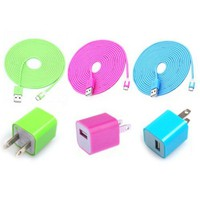 Total 6pcs/lot! Colouful 3PCS USB Cord And Charger For Iphone 5