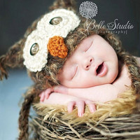 POPULAR Baby Owl Hat Newborn 0 3m 6m Fuzzy Brown Crochet SOFT Sale Photo Prop Clothes Boys Girls Gender Neutral Fall Winter 2012