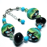 Blue Green Black Lampwork Swarovski Peridot and Turquoise Bracelet