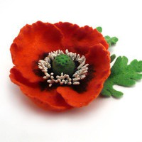 Felted Brooch Red Poppy by Roltinica on Etsy