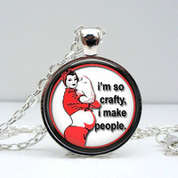 Funny Pregnancy Necklace Glass Picture Pendant Photo Pendant