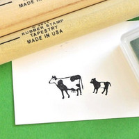 Cow and Calf  Rubber Stamp Set by norajane on Etsy