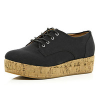 Black lace up cork flatform shoes