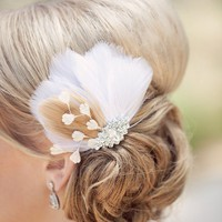 feather hair comb - Champagne dreams | birdcage veils, accessories by tessa kim