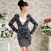 Fight gray woolen dress bow Wang