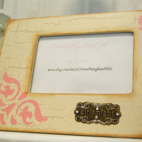 Antiqued Distressed Girls Night Picture Frame, 4X6 Embellished, Tan and Pink
