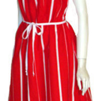 70s Vintage Dash-About Red Striped Sundress NWOT
