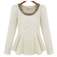 Peplum Goddess top in Cream