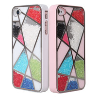 Colourful Cute Sliding Polygon Mirror Hard Cover Case For Iphone 4/4s/5
