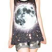 Full Moon Universe Black Women Top Tunic Moon Shirt Tank Top Singlet Sleeveless Photo Transfer Punk Rock T-Shirt Size S