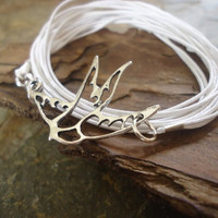 SILVER SWALLOW wrap bracelet with filigree bird by AsaiBolivien 7,90 US$