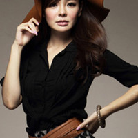 Black Romantic Pleated Mudiem Sleeve Blouses : Wholesaleclothing4u.com
