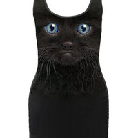 Black Cat Kitten Face Photo Printed Tank Body Con Micro Mini Dress