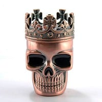 Awesome Skull Crowned King Skeleton Design Spice Herb Grinder Pollen Mesh Storage Space w/ Gift Box