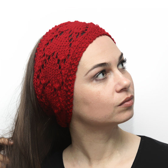 Knitted Head Scarf Pattern : Hand Knit Headband Heartshaped, Knitting from Solandia Solandia