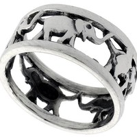 Sterling Silver Elephant Link Wedding Band Ring 5/16 inch wide, sizes 6 - 14