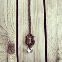 Antique keyhole necklace with chandelier crystal