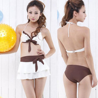 Women Bikini Splicing Layer Skirt Swimwear