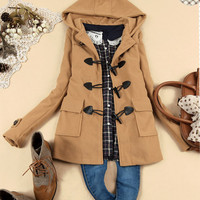 Leisure Sweet Womens Duffle Coat Outerwear Toggles Classical Pockets