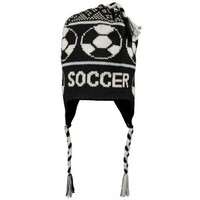 SOCCER Fleece Lined Knit Winter Hat Black/White