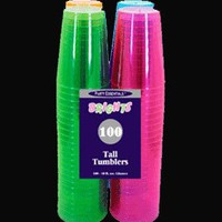 Assorted Neon Blacklight Reactive 10 Ounce Party Cups- 100 Count