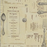 French English menu fabric antique silverware from Brick House Fabric: Novelty Fabric