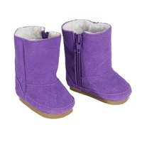 Doll Boots in Purple Suede for American Girl Dolls, Zipper Opening and White Sherpa Fur Lining Purp