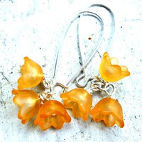 Frosted Lucite Bell Flower Earrings.. on Luulla