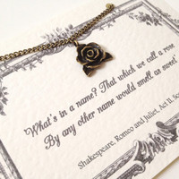Shakespeare Rose Charm Necklace - Romeo and Juliet