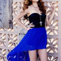 Cobalt Royal Blue High-Low Skirt