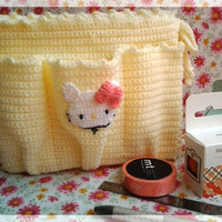 Free shipping, Cream color crocheted bag, ready-to-ship.