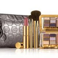 MICHAEL KORS ESTEE LAUDER 7 PC MAKEUP SET WITH MICHAEL KORS GUNMETAL COSTMETIC BAG-NIB