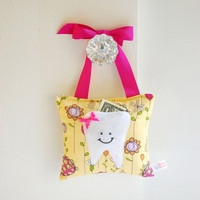 Girls Tooth Fairy Pillow Tooth Fairy Gift in Modern Yellow and Pink Floral Cotton