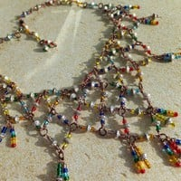 Rainbow Chainmaille 7 Chakras Bib Necklace