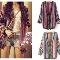 Boho Ethnic Colorful Wave Stripe Knit Top Blouse Sweater Cardigan S M #TFL