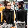 Cool Casual Womens Black Jackets Motorcycle Outerwears Lapel Rivets