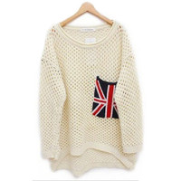 Loose Long Sleeve Flag Pullover Sweater for Women