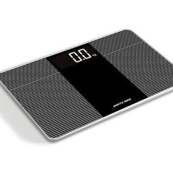 Ivation Premium Glass Ultra Thin Bathroom Scale LARGE LCD Display Easy To Read 150kg/330lbs Capacity, Extra Wide 14 inch platform!