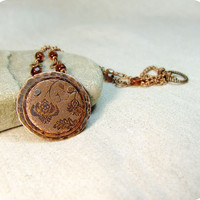 Copper necklace with flower pattern Free by RadhikaJewelry on Etsy