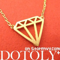 Simple Diamond Shaped Cut Out Necklace in Gold from Dotoly Plus