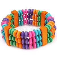 Unique Wooden Multicolor Beaded Wide Bangle Bracelet at online cheap fashion jewelry store Gofavor