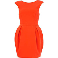 Orange cap sleeve cocoon dress