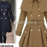 Blue Coat - Fashion Korea COAT Women&#x27;s double-breasted | UsTrendy