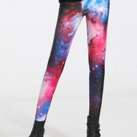SALE Galaxy Night Leggings  - Red & Blue Print / Outer Space Leggings, Celestial tights, Planets, Science Fiction