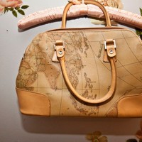 map print leather purse