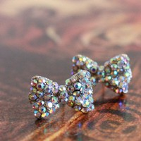 The Silver Ribbon- Silver Miniature Bow Earrings
